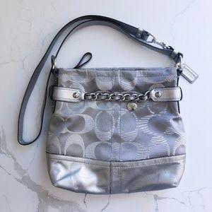 Coach Logo Print Bag with Silver/Metallic Accents